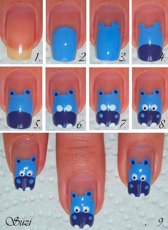Unhas com decoração fun - Hipopótamo