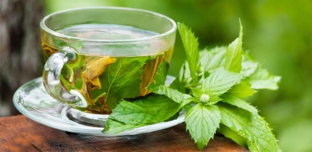 Chá de hortelã e Chá verde