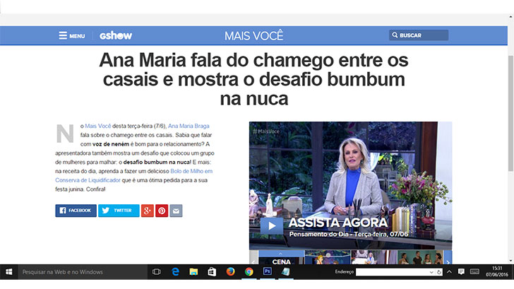 Ana Maria Braga fala sobr o Bum Bum na nuca