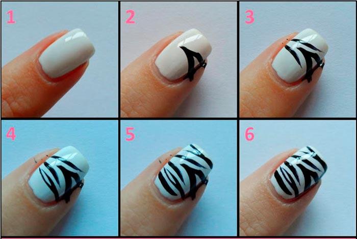 Unhas com zebra print